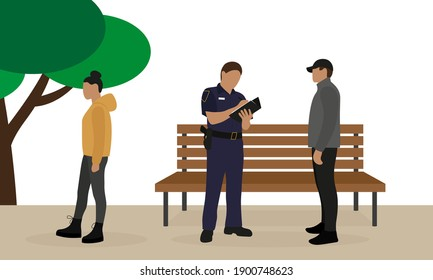 Police officer in uniform writing a fine to a male character outdoors and a female character walking by