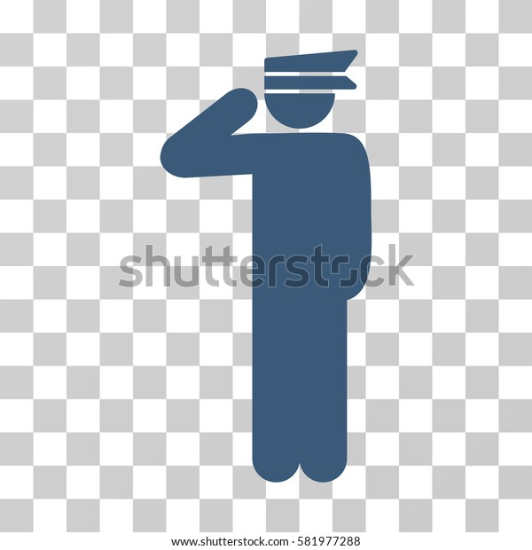 Police Officer vector icon. Illustration style is a flat iconic blue symbol on a transparent background.