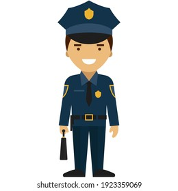 Police officer vector. Policeman profession, cop guard character or security man flat icon isolated on white background. Patrolman in uniform illustration