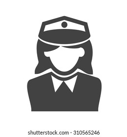 Police, officer, woman icon vector image. Can also be used for professionals. Suitable for web apps, mobile apps and print media.