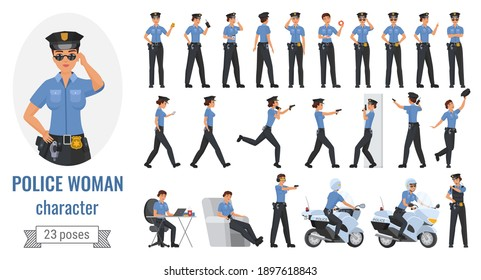 Police officer woman poses vector illustration set. Cartoon young female worker character working in different poses, gestures and actions, posing with phone, gun, police motorcycle isolated on white