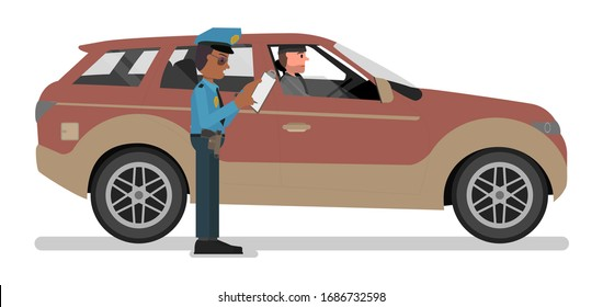 A police officer writes a fine to a traffic offender. Vector illustration, flat design style. Isolated on a white background.