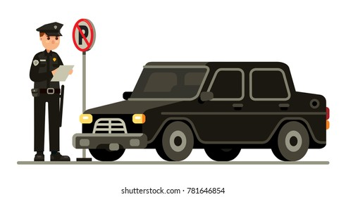 Police officer writing a ticket for parking violation modern flat style vector illustration