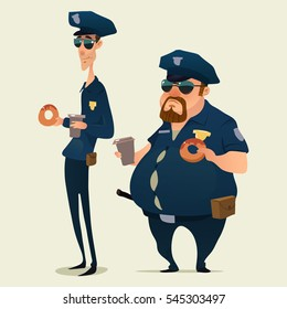 police officers with donuts and coffee, policeman, cartoon character, vector illustration isolated on background