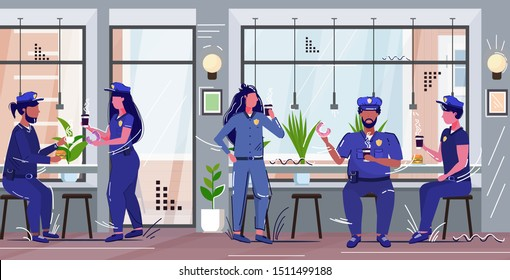 police officers eating donuts drinking coffee policemen and policewomen in uniform having lunch security authority justice law service concept modern cafe interior full length horizontal sketch