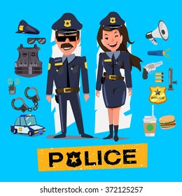 Police officers. Man and woman with icon set. Character design - vector illustration