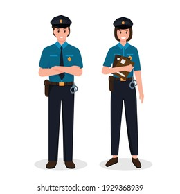 Police officers man and woman in uniform standing in front view. Job at police station, life protection, crime investigation. Vector character illustration isolated on white background.