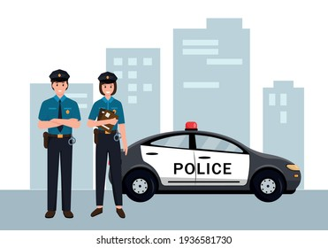 Police officers man and woman in uniform standing near car in city. Job at police station, life protection, law enforcement, crime investigation. Professional occupation. Vector illustration.