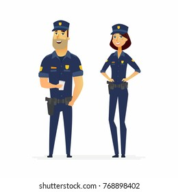 Police officers on duty - cartoon people characters illustration