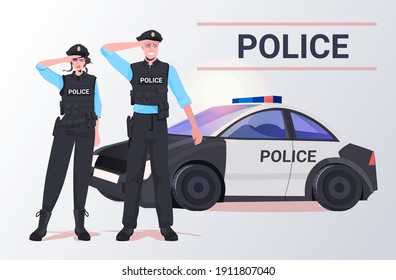police officers in tactical gear riot policeman and policewoman standing together near car protesters and demonstration control concept full length horizontal vector illustration