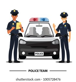 police officers team character