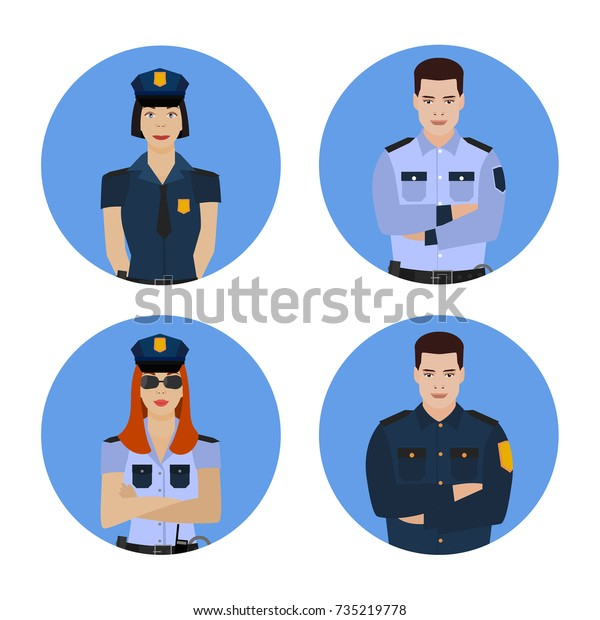 Police Officers Uniform Signs Symbols Collection Stock