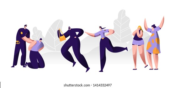 Police Officers at Work. Policeman Putting Handcuffs on Offender Hands, Woman Character Catching Up Thief to Arrest, Criminal Steal Bag from Victim , Witness Cry Help. Cartoon Flat Vector Illustration