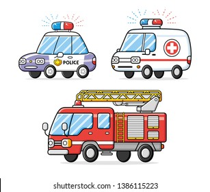 Police patrol car, emergency ambulance and fire engine truck isolated.