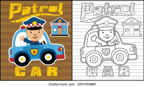 Police patrol car with happy cop, coloring book or page, vector cartoon illustration
