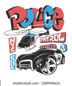 Police patrol car with helicopter, vector shirt print illustration.