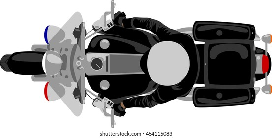 Police patrol heavy motorcycle with policeman top view