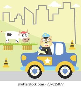 police  patrol vector cartoon