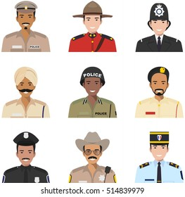 Police people concept. Different policeman characters avatars icons set in flat style isolated on white background. Vector illustration.