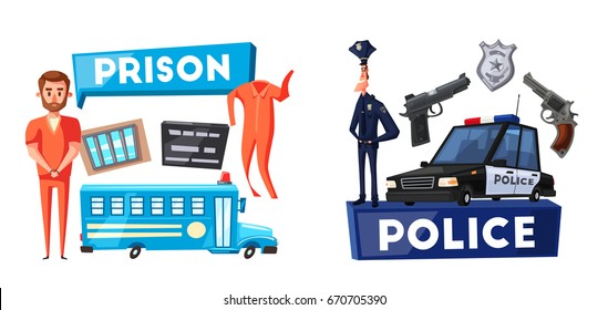 Police and prison. Cartoon vector illustration