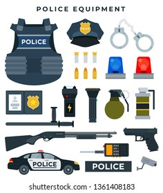 Police professional equipment, set. Body armor, ID, police badge, weapon, bullets, cap, handcuffs, flashlight, stun gun, portable radio, video camera, police car. Vector illustration in flat style.
