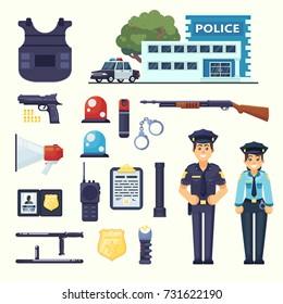 Police professional equipment set. Handcuffs, bulletproof vest, electroshocker, truncheon, badge, weapons station car and other element