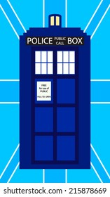 Police public call box on blue british flag background