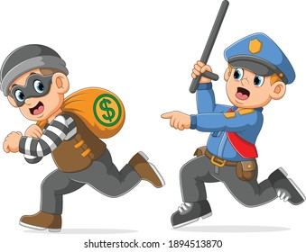The police is pursue catch the thief holding bag money of illustration