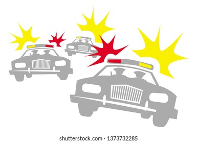 police raid. cops on cars with flashing lights and siren. vector drawing