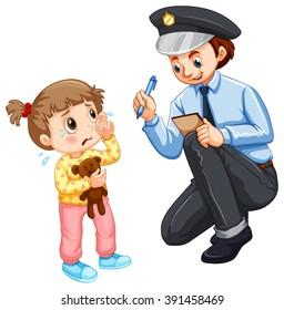 Police recording lost child illustration
