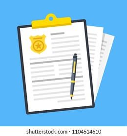 Police report. Traffic fine. Clipboard with police badge, document and stack of papers. Paperwork concepts. Flat design. Vector illustration
