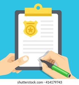 Police report. Traffic, parking fine, citation, crime report, problems with police, subpoena concepts. Graphic design for web banners, web sites, infographics. Top view. Flat vector illustration