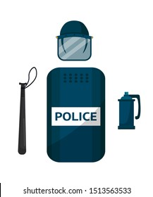 Police riot gear flat vector illustration. Special enforcement protective shield isolated clipart on white background. Policeman professional equipment. Bat and helmet cartoon design elements set