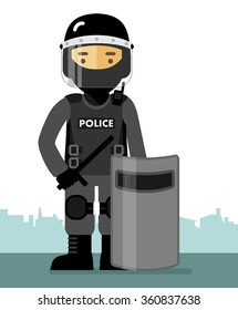 Police riot officer in uniform standing with shield and baton isolated on white background in flat style