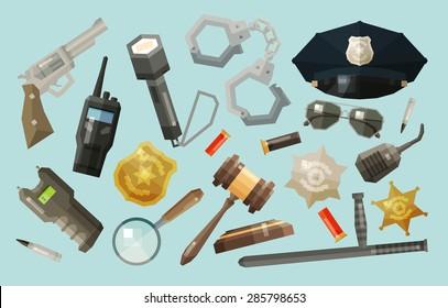 police, security icons set. collection of elements - baton, flashlight, gun, pistol, shocker, magnifier, cap, handcuffs, sun glasses, bullet, radio