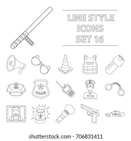 Police set icons in outline style. Big collection of police vector symbol stock illustration