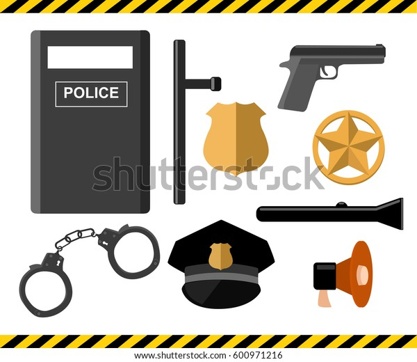 Police set vector illustration.