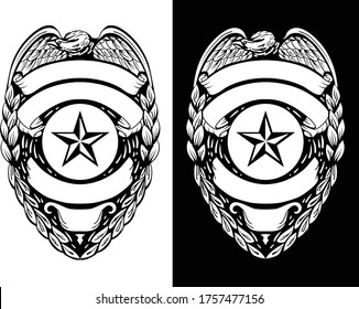 Police, Sheriff,  Law Enforcement Badge Isolated Vector Illustration in both Black Line Art and White Versions