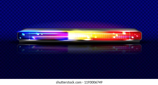 Police siren flasher beacon light vector illustration. Isolated realistic long red and blue horizontal alarm LED lamp with loudspeaker on transparent background