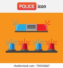 police siren flasher. Siren set. Police flasher or ambulance flasher icons