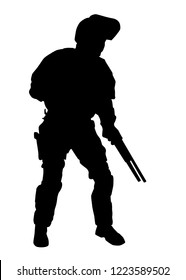 Police special forces officer, SWAT team shooter in riot protection helmet with flipped up visor, standing and crouching with shotgun in hands, black vector silhouette isolated on white background
