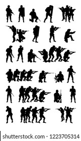 Police special forces tactical members, SWAT group, counter-terrorist squad fighters set collection vector silhouette isolated on white background