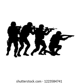 Police special forces tactical team, SWAT group, counter-terrorist squad fighters moving in stack formation behind team leader who aiming with shotgun vector silhouette isolated on white background