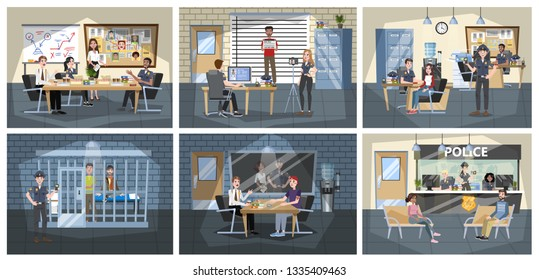 Police station building interior. Police officer in uniform working. Detective in office make investigation. People in jail. Vector illustration in cartoon style