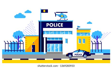Police station building on on modern background. City police department building in trendy flat style