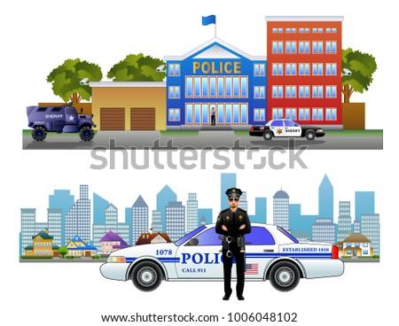 Police Station Department Building Landscape Policeman Stock