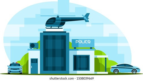 Police station with helicopter and police cars on city background