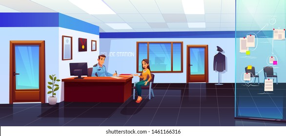 Police station interior with policeman and girl visitor communicating, man officer listening and writing woman victim or witness testimony, interrogation, testify, cop work Cartoon vector Illustration