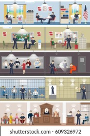 Police station interior set with rooms. Office room, witness interview room, prison cell and receiving desk.