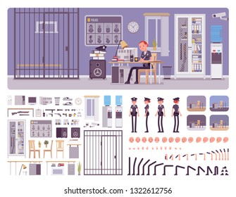 Police station office interior creation kit with policewoman, officer at workspace, full set to build own design, staff working area constructor elements. Cartoon flat style infographic illustration